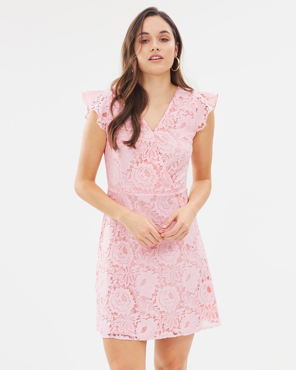 Dorothy Perkins Floral Lace Wrap Dress Dresses Blush Floral Lace Wrap Dress
