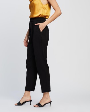 Forcast Lori Elasticated Slim Leg Pants - Pants (Black)