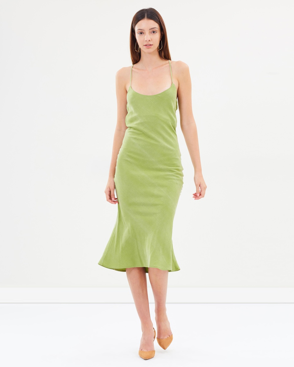 Christopher Esber Alpine Green Tie Back Bias Slip Dress