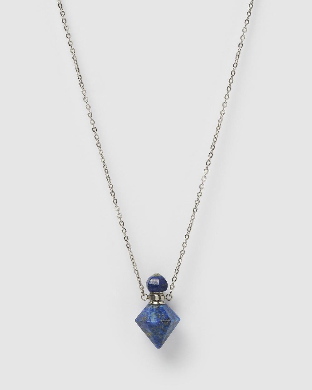 Miz Casa and Co Trix Pendant Perfume Bottle Necklace Jewellery Blue Lapis Silver