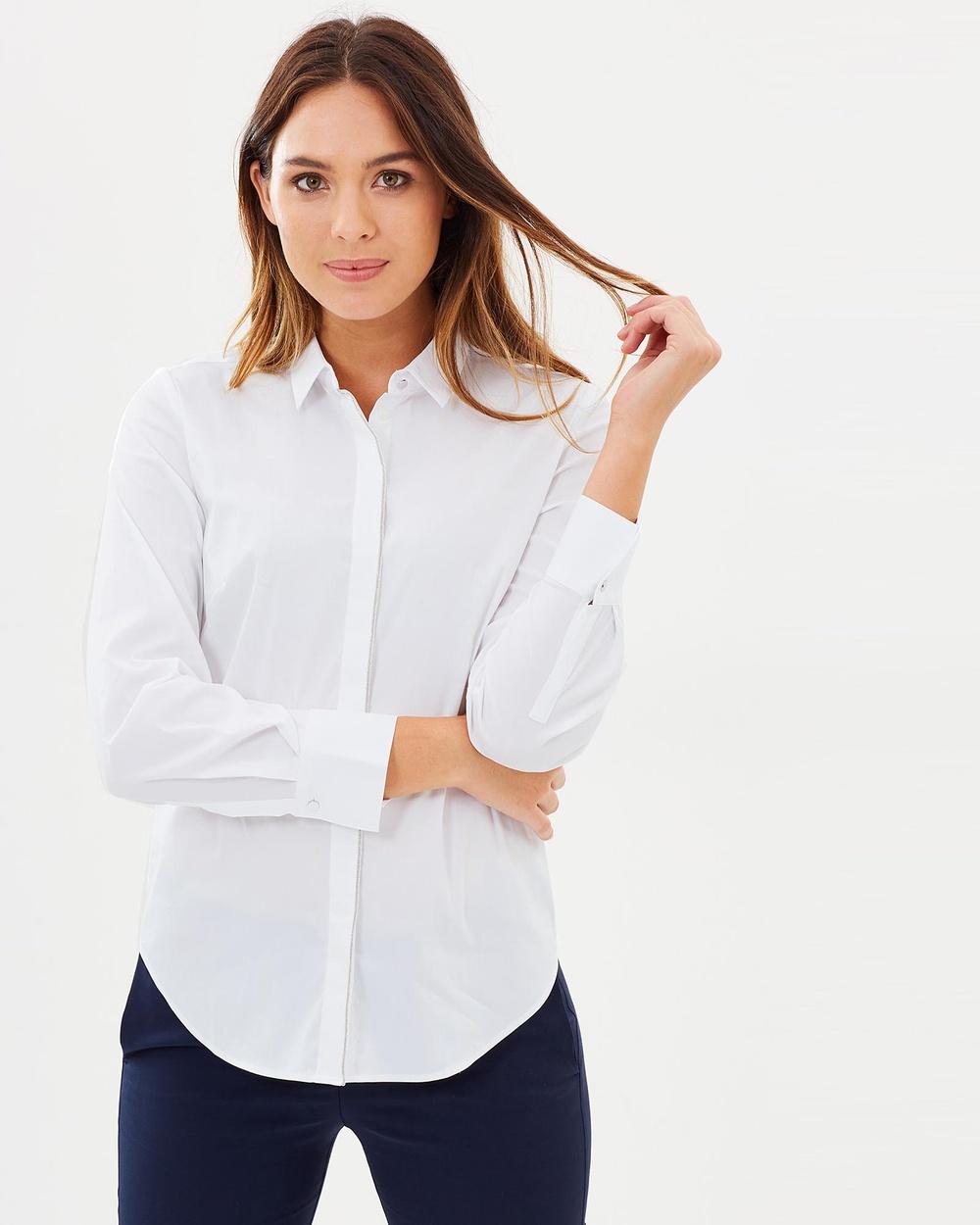Sportscraft Avignon Trim Shirt Tops white Avignon Trim Shirt