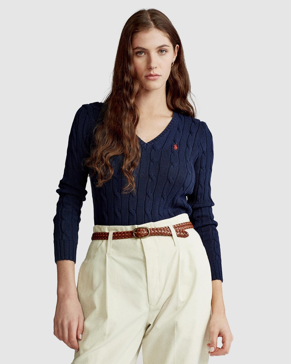 23c698a71bb2 Kimberly Cable Cotton V-Neck Sweater by Polo Ralph Lauren Online | THE  ICONIC | Australia