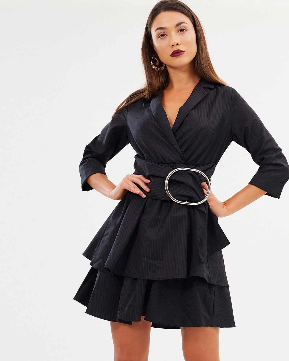 Lost Ink Pinstripe Metal Ring Wrap Fit and Flare Dress Dresses Black Pinstripe Metal Ring Wrap Fit-and-Flare Dress