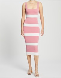 BY JOHNNY. - Peony Stripe Knit Midi Dress