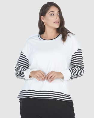 Advocado Plus Stripe Blocked Jersey Top - Tops (Cream)
