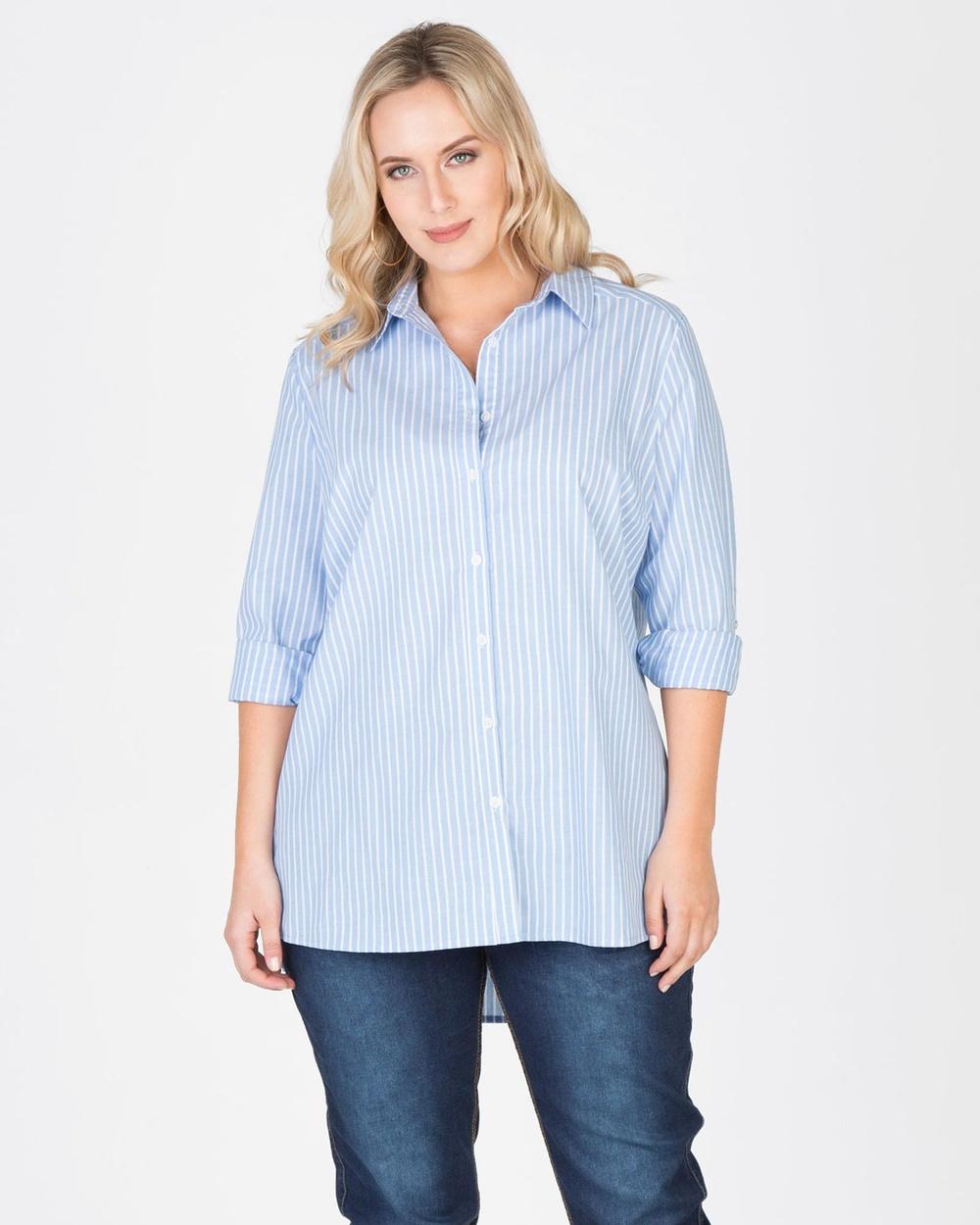 Love Your Wardrobe Hamptons Stripe Shirt Tops Blue / White Stripe Hamptons Stripe Shirt