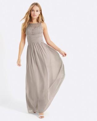 Little Mistress – Embellished Neck Maxi Dress – Bridesmaid Dresses (Mink)