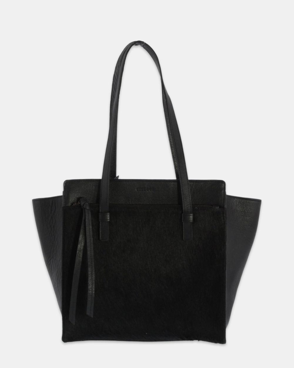 Cobb & Co Safari Balmain Pony Hair Leather Tote Bags Black