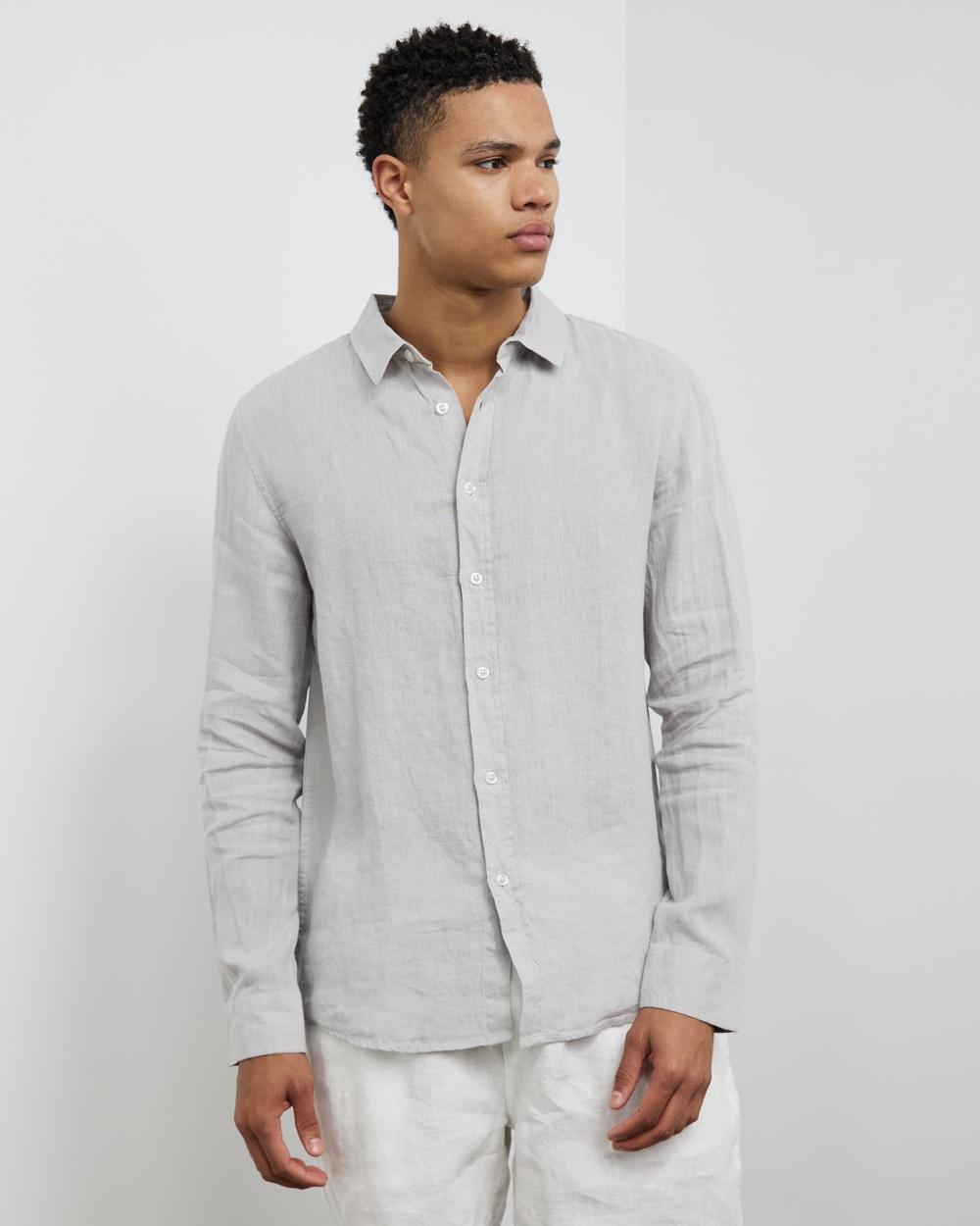 AERE LS Linen Shirt Casual shirts Grey