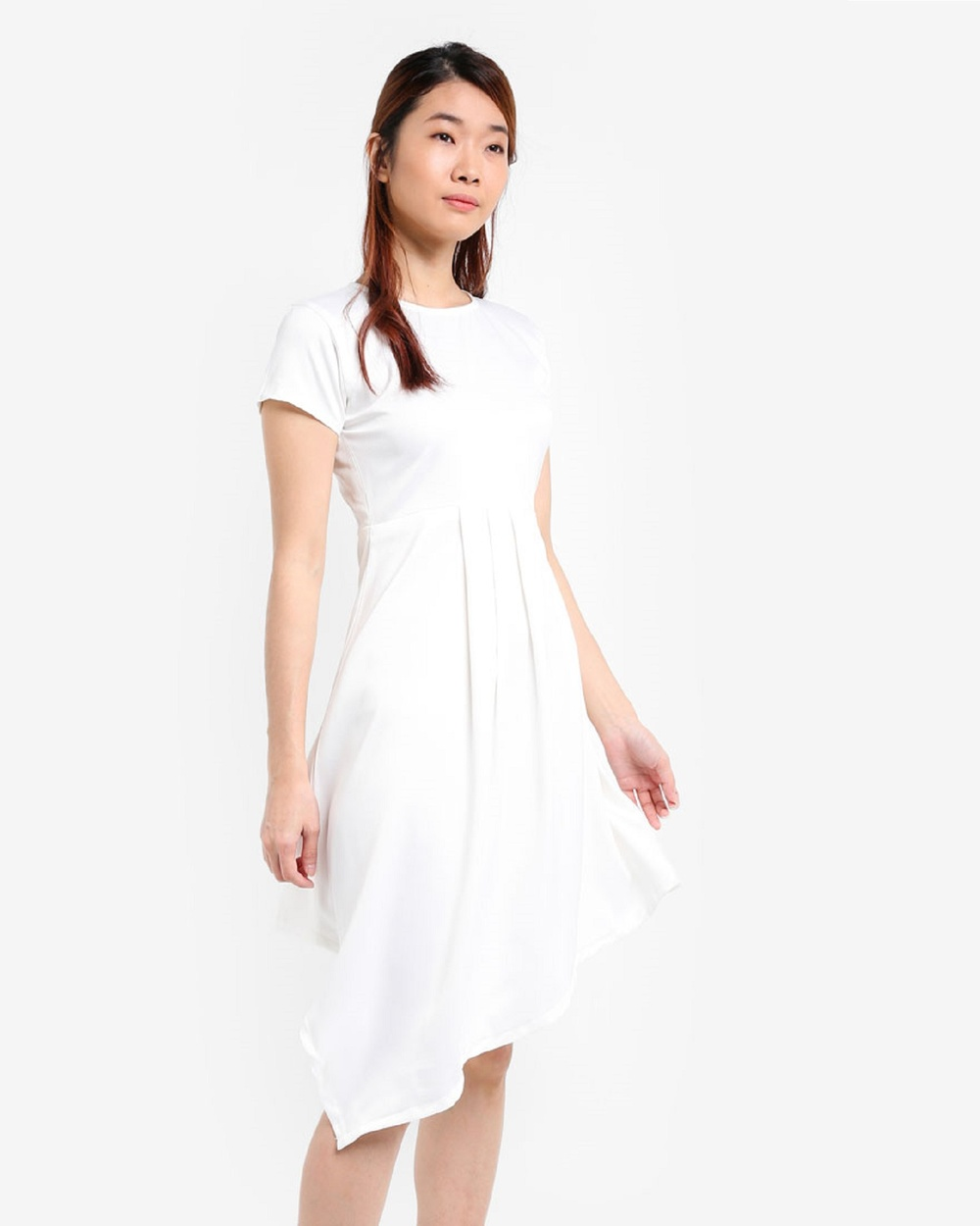 Photo of BoyFromBlighty BoyFromBlighty Drape Dress Dresses White Drape Dress - Give your wardrobe a boost with a signature Drape Dress by BoyFromBlighty. This on style, short sleeved dress boasts a round neckline, chevron jacquered drape detail and a zip fastening for ease. Our Model is wearing a size S. She usually takes an international size S, is 178 cm tall, has a 84cm bust, 91cm hips and a 59cm waist. - Length: 92cm (Size S) - Solid colour - Short sleeved -