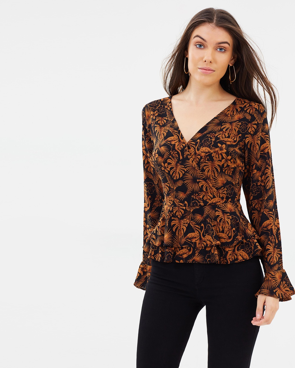 Atmos & Here ICONIC EXCLUSIVE Margo Ruffle Top Tops Retro Palm ICONIC EXCLUSIVE Margo Ruffle Top