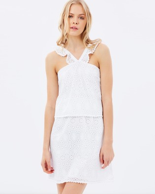 Maison Scotch – Tiered Cotton Dress with All Over Embroidery – Dresses (White)