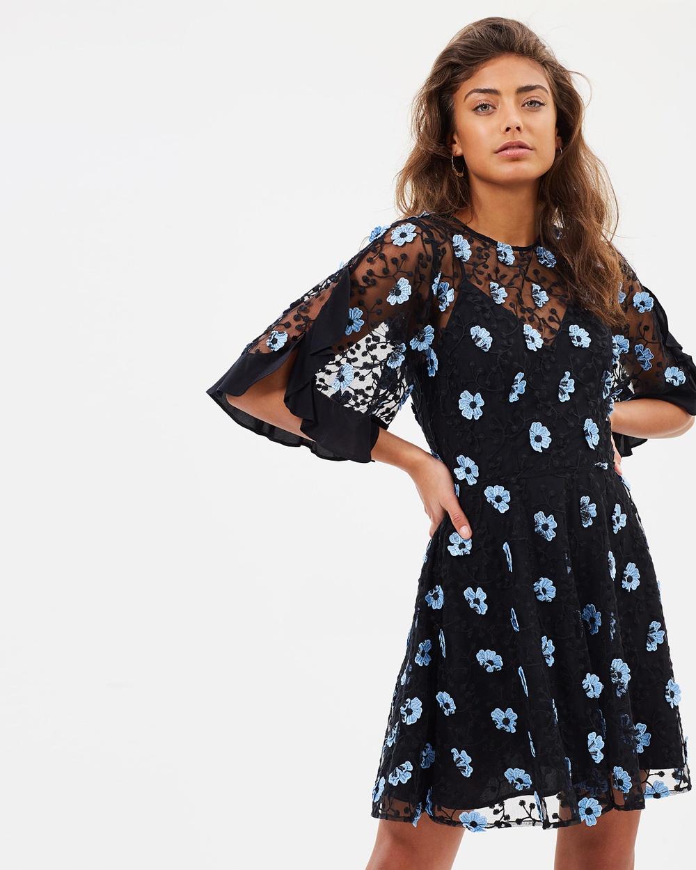 Talulah Crave You Mini Dress Dresses Stone Blue 3D Floral Crave You Mini Dress
