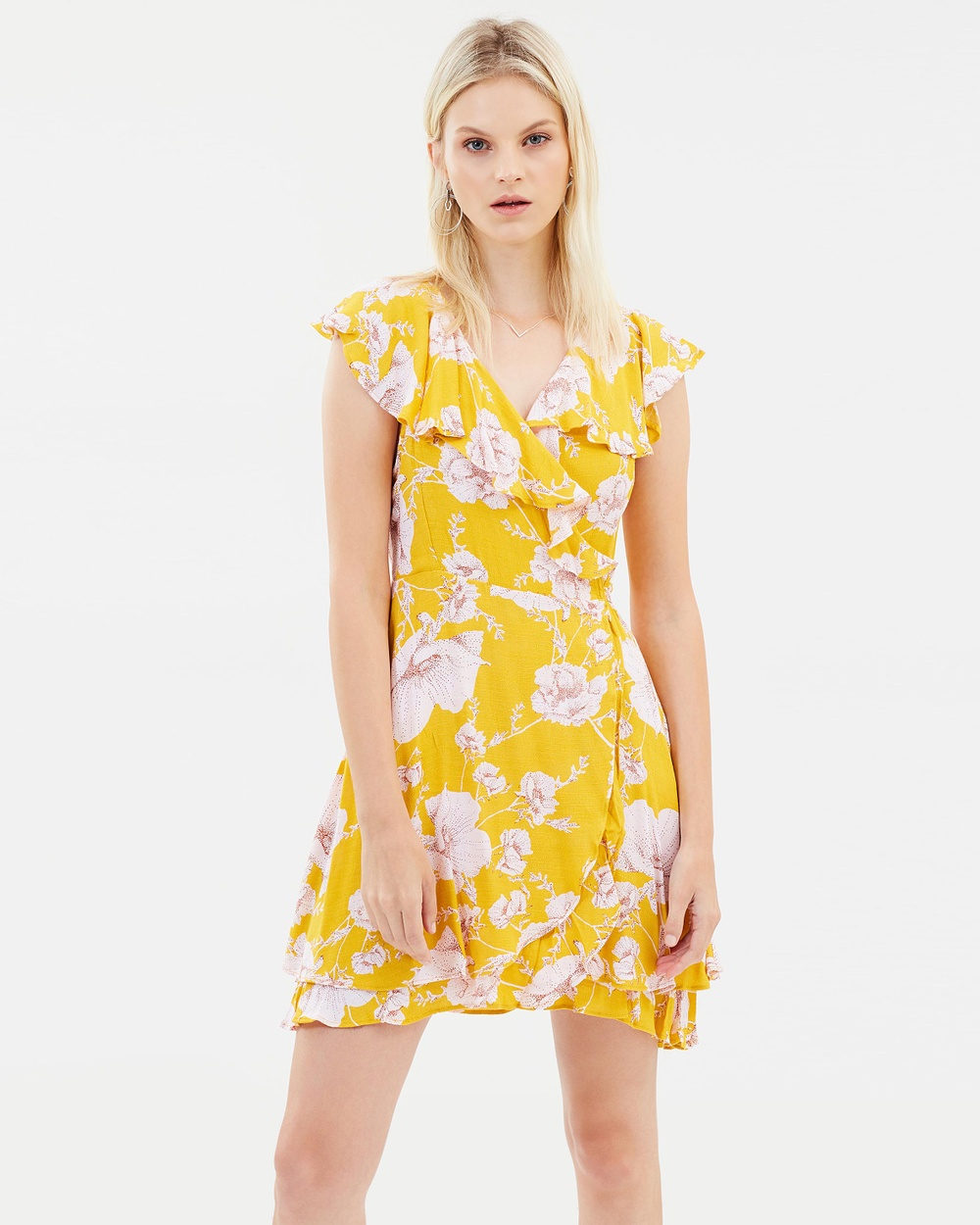 Free People French Quarter Printed Mini Dress Printed Dresses Yellow French Quarter Printed Mini Dress