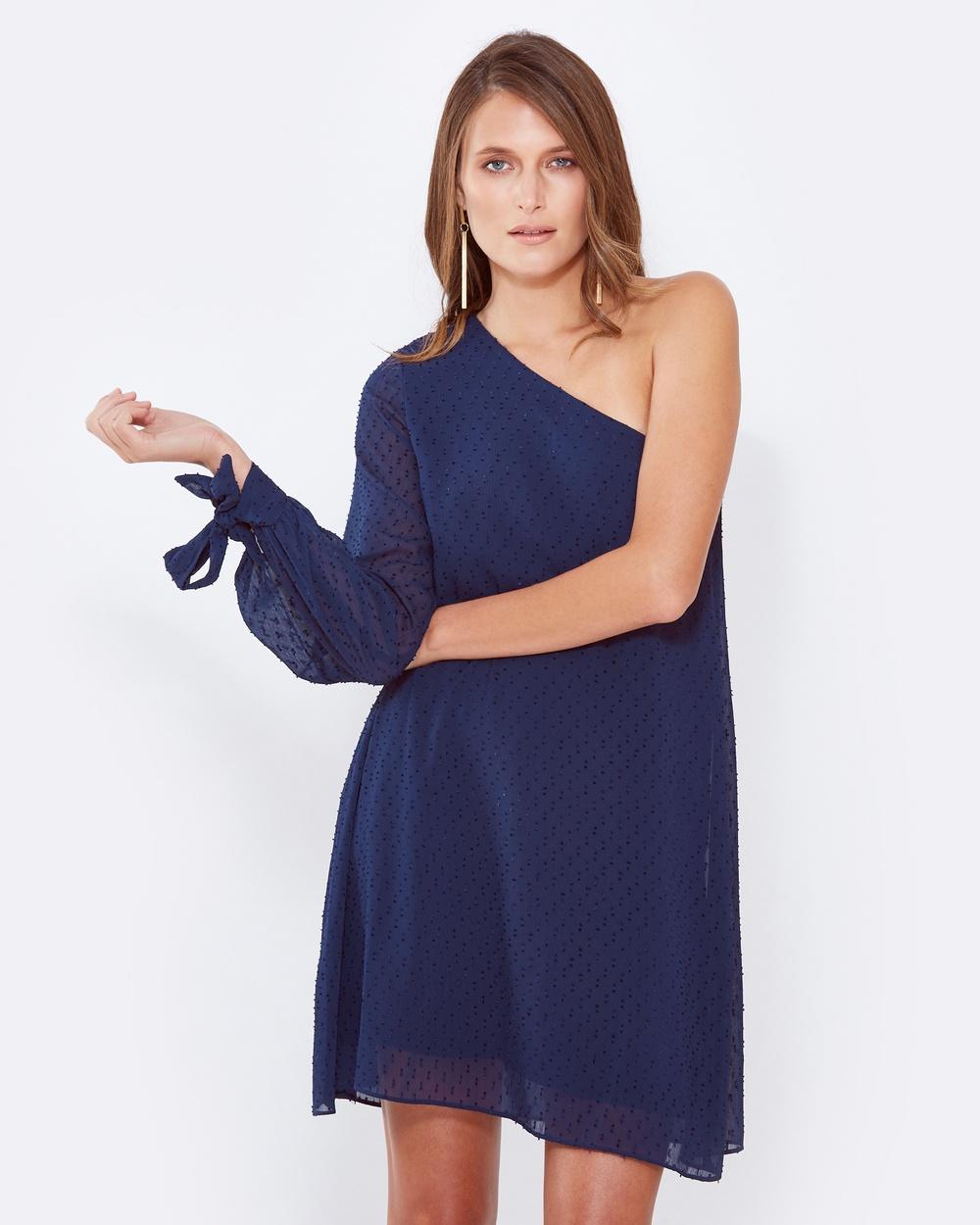 Tussah Yves One Shoulder Dress Dresses Navy Yves One-Shoulder Dress