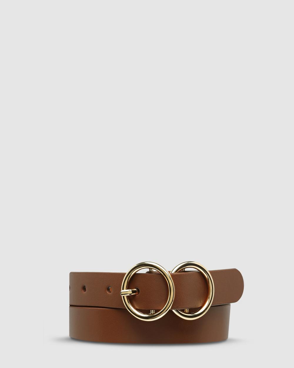 Status Anxiety Mislaid Skinny Belt Belts Tan/Gold