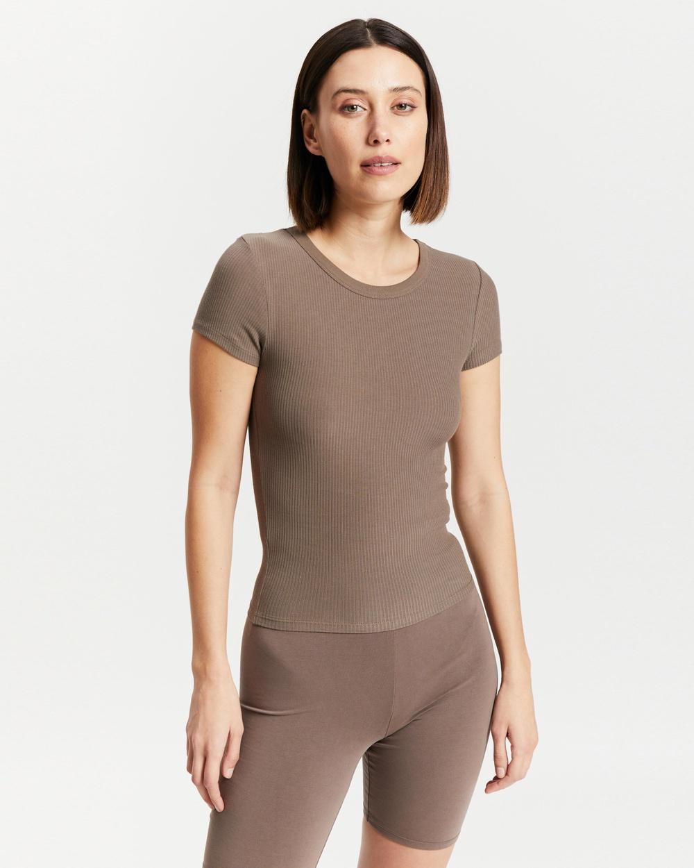 Nude Lucy Monroe Rib Tee T-Shirts & Singlets Ash Australia