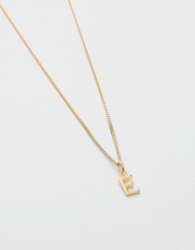 Women E Outline Initial Necklace