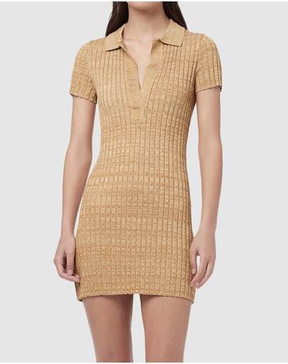 Manning Cartell - Mixed Stitches Knit Mini Polo Dress