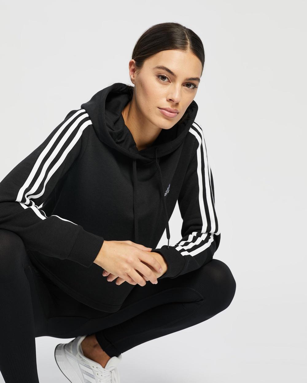 adidas Performance Essentials 3 Stripes Cropped Hoodie Hoodies Black & White 3-Stripes