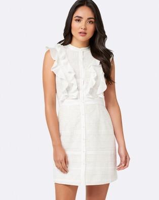 Forever New – Paula Ruffle Jacquard Shirt Dress – Dresses (True White)