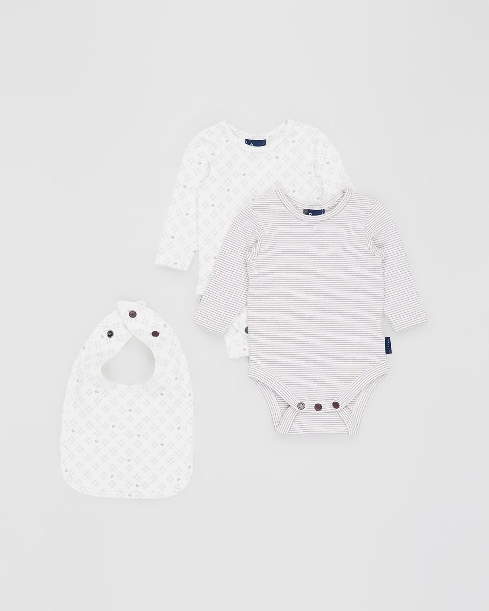 Pappe 3 Piece Nimmy Long Sleeve Bodysuit Set Bibs Elderberry & Sassafras Heart Crosses 3-Piece