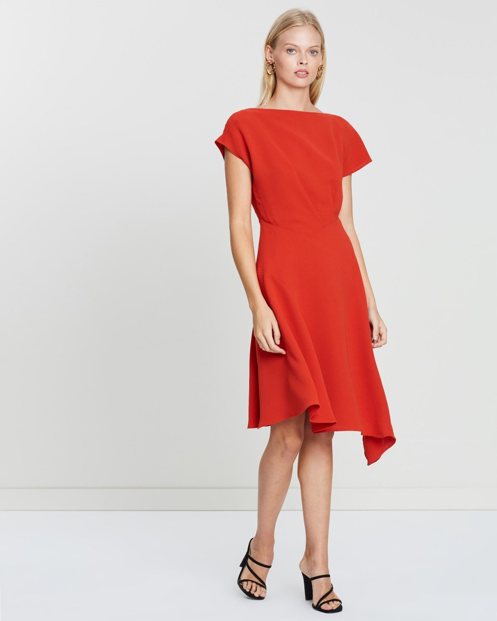 3e7eeda231c Victoria Cap Sleeve Asymmetric Hem Dress by REISS Online