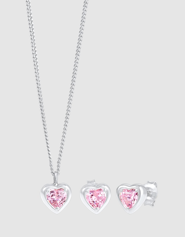 Elli Jewelry - Kids - Jewelry Set Kids Set of 2 Necklace Plug Heart Pink with Zirconia Crystals in 925 Sterling Silver