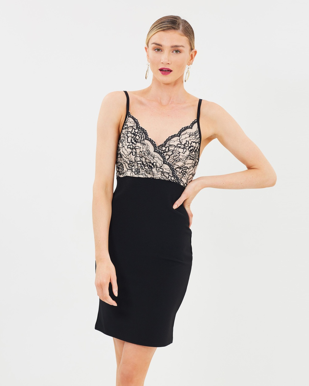 Dorothy Perkins Strappy Lace Body Con Dress Bodycon Dresses Black & Stone Strappy Lace Body-Con Dress