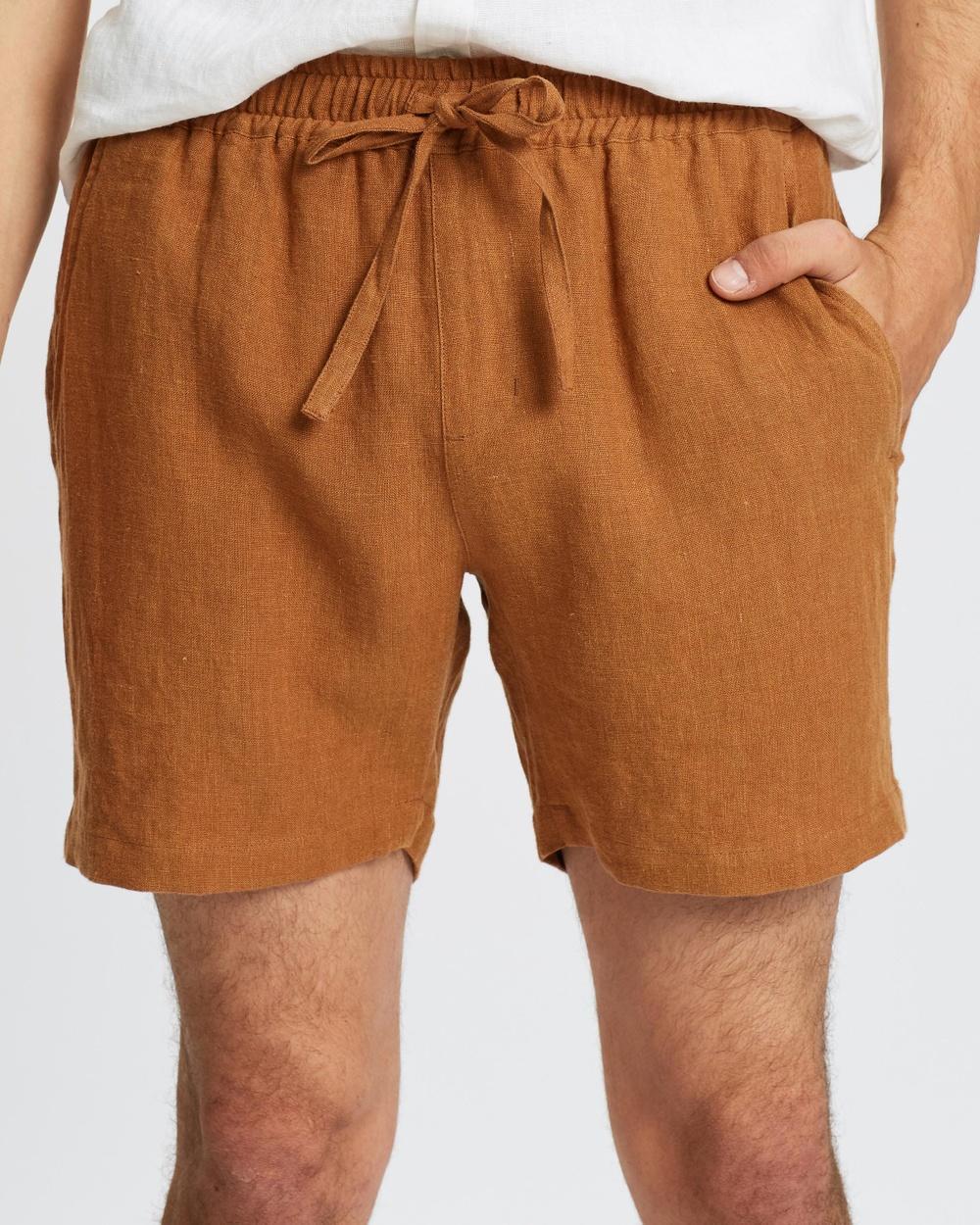 AERE Linen Pull On Shorts Rust