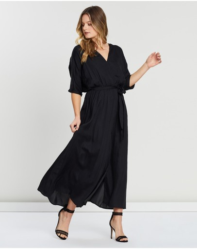 Atmos&Here - Short Sleeve V-Neck Maxi Dress