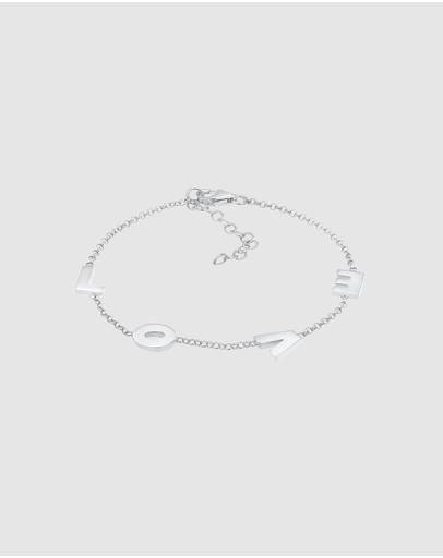 Elli Jewelry Bracelet Love Wording Letters Filigree In 925 Sterling Silver