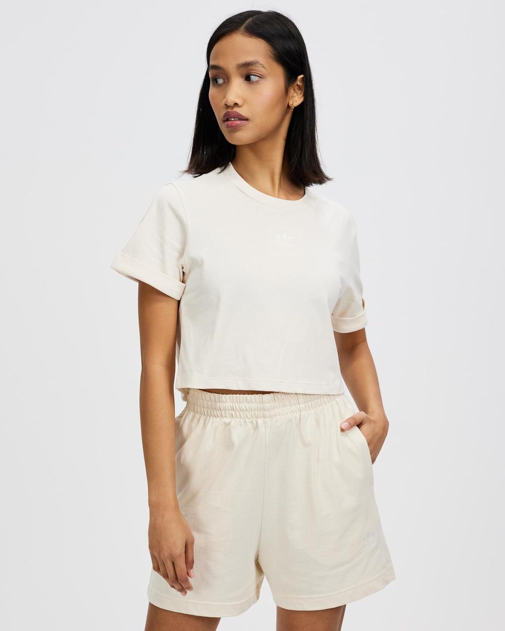 adidas Originals Adicolor Essentials Cropped Tee T-Shirts & Singlets Wonder White