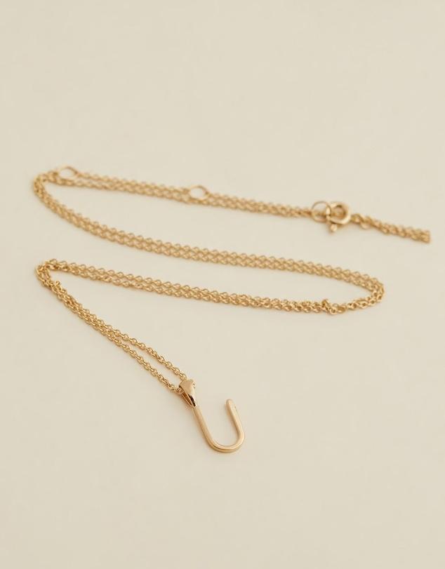 Women Initial Necklace - U