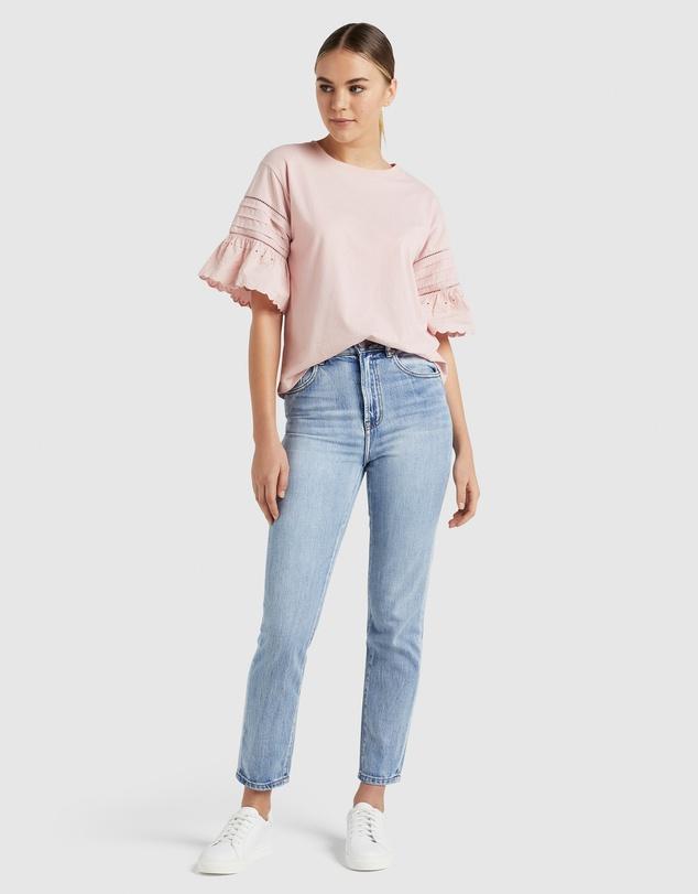 Women Broderie Sleeve T Shirt