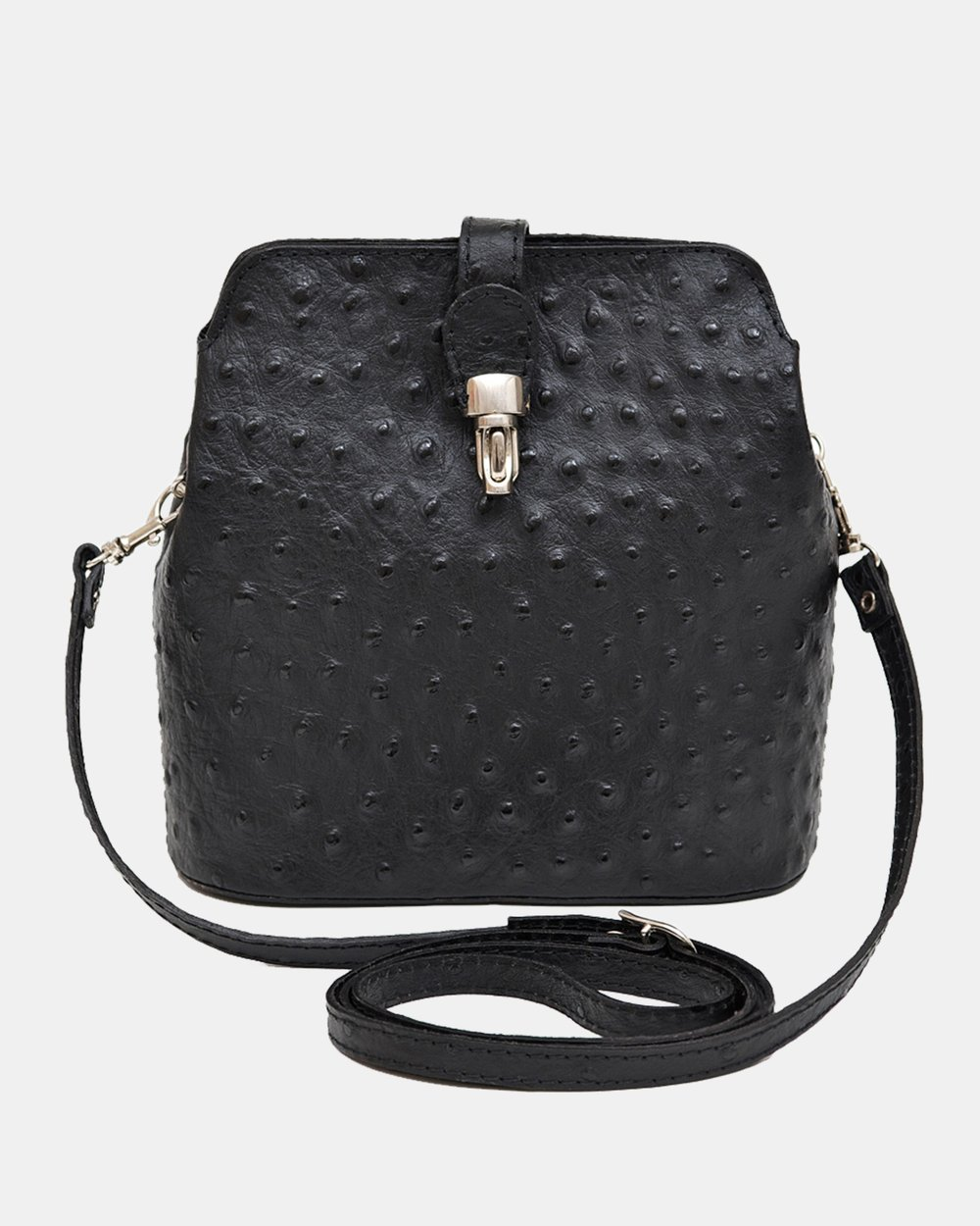 fd8f2d715e Gemma black Ostrich Embossed Italian Leather Cross-Body Bag by Marlafiji  Online | THE ICONIC | Australia