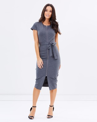 Atmos & Here – Janelle Ponte Body Con Dress – Bodycon Dresses (Charcoal)