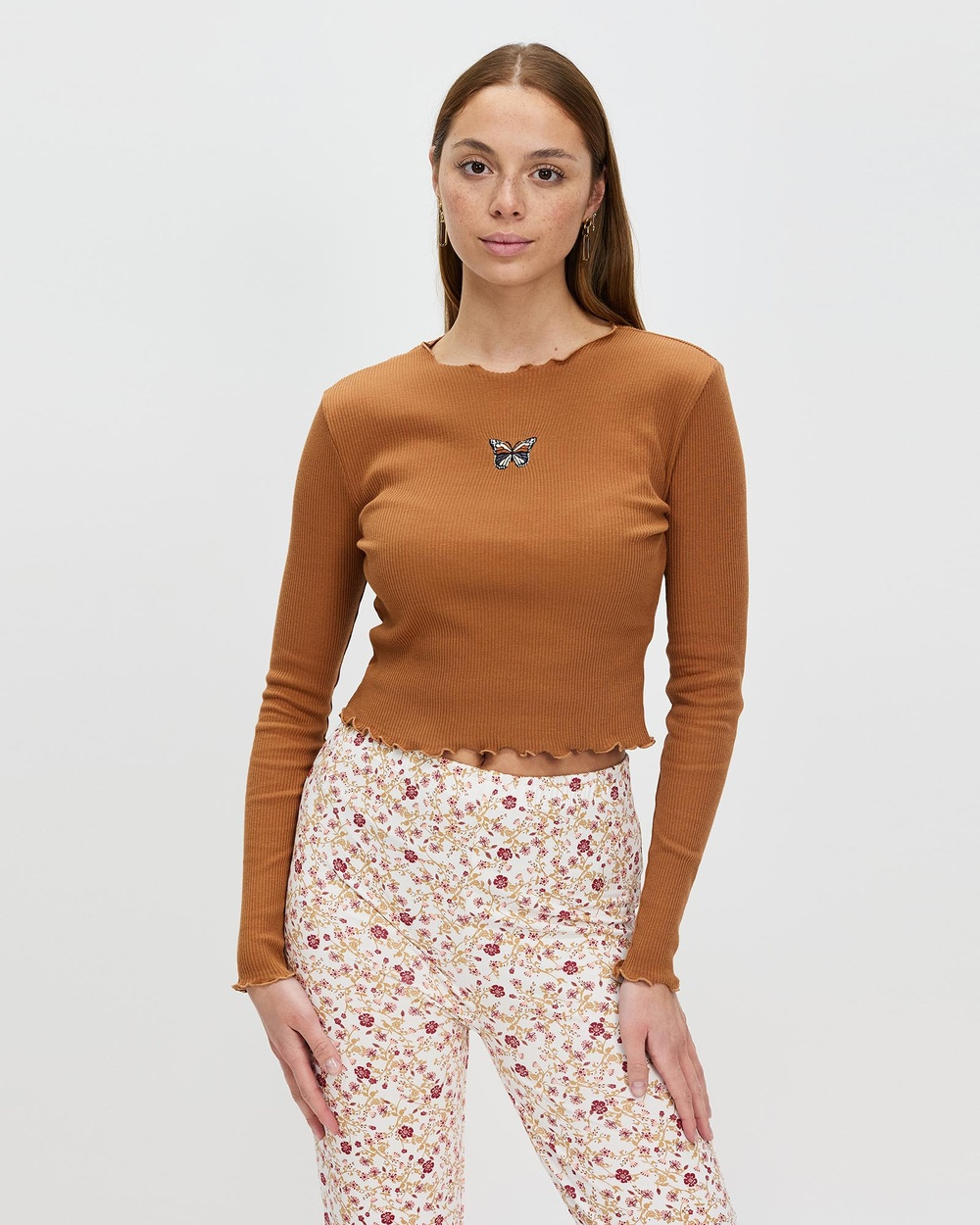 All About Eve Remi Butterfly Long Sleeve Tee Tops Tan