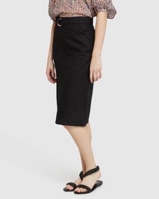 Oxford Noah Linen Skirt - Pencil skirts (Black)