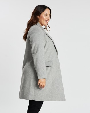 Atmos&Here Curvy Vivian Wool Blend Coat - Coats & Jackets (Grey)