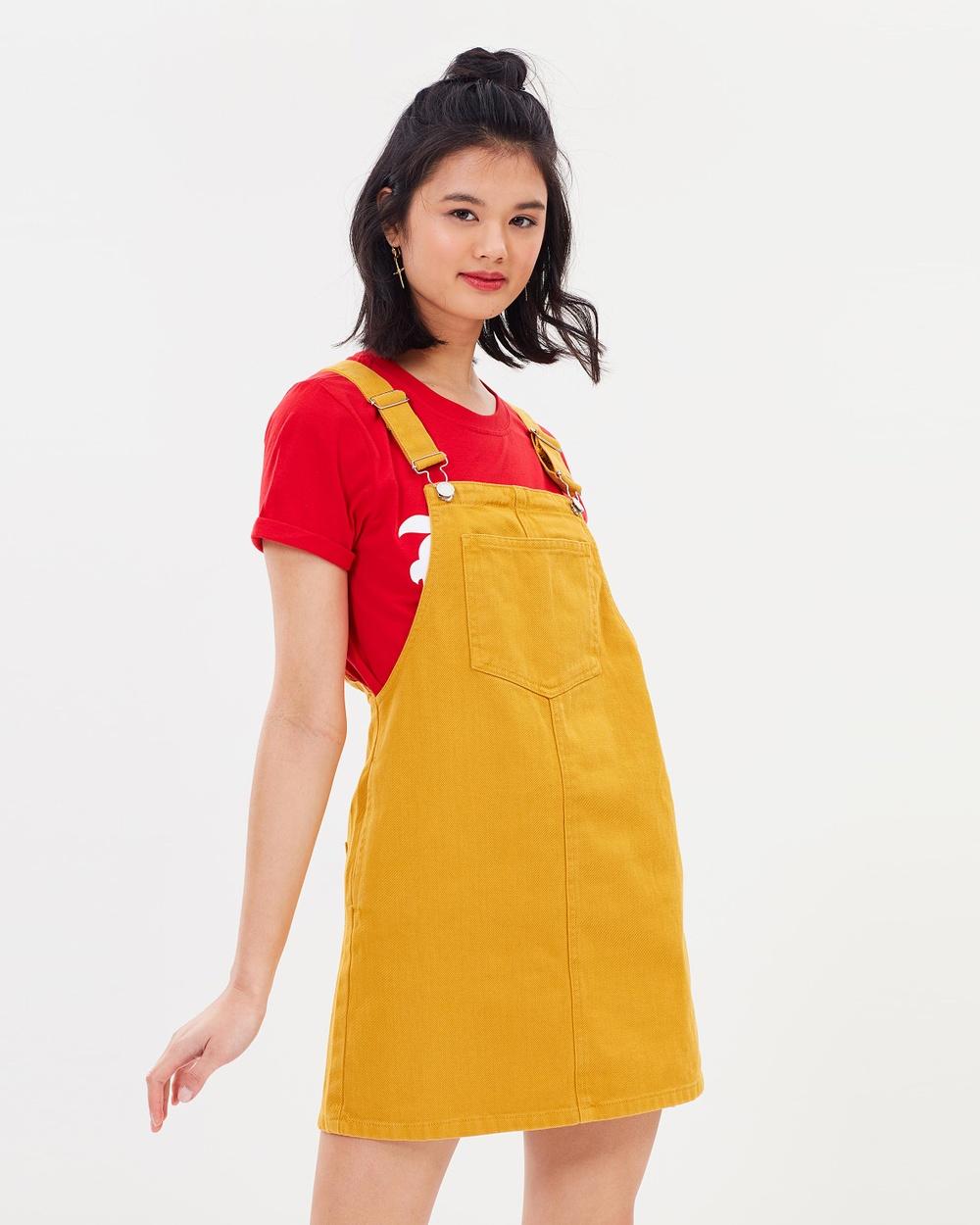 Miss Selfridge Denim Pinafore Dress Dresses Yellow Denim Pinafore Dress