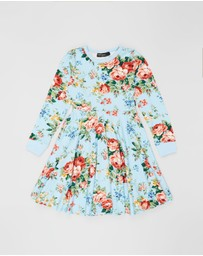 Rock Your Kid - French Floral LS Waisted Dress - Kids