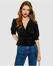 TOPSHOP - Scallop Wrap Top