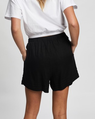Atmos&Here Sarah Linen Blend Shorts - High-Waisted (Black)