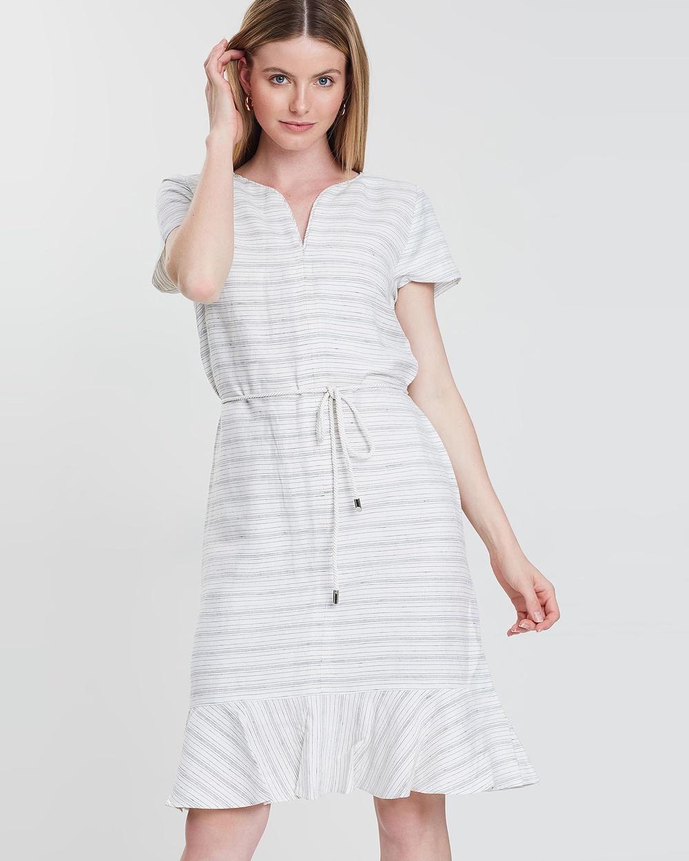 Sportscraft Ivory & Navy Zoya Linen Dress