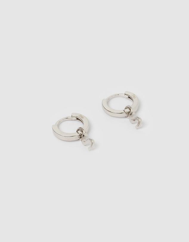 Women Alphabet Letter S Huggie Earrings