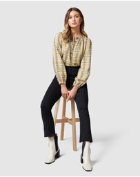 Forever New - Zoey Check Half Placket Blouse