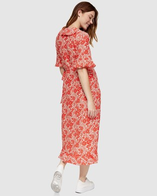 TOPSHOP Maternity - Maternity Floral Print Ruffle Wrap Dress - Dresses (Red) Maternity Floral Print Ruffle Wrap Dress
