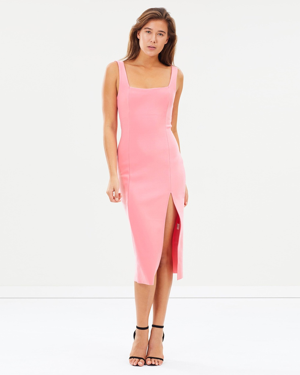 Bec & Bridge Hibiscus Islands Midi Dress Bodycon Dresses Flamingo Pink Hibiscus Islands Midi Dress