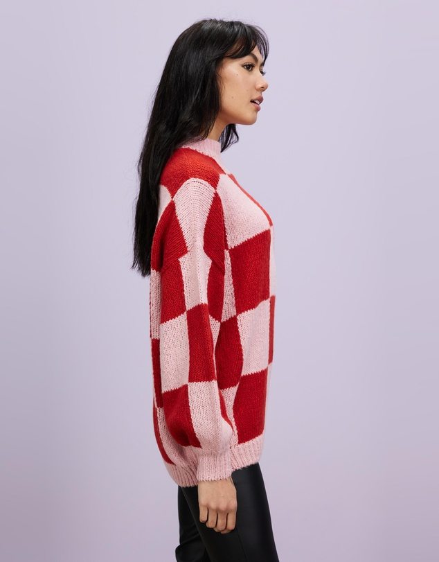 Women Checkmate Knitted Jumper